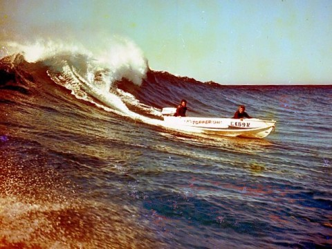 "Ron Taylor driving his Tradewind in 1966 - ""more exciting than swimming with sharks""."